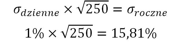 Wzór - zamiana dziennego odchylenia standardowego na roczne
