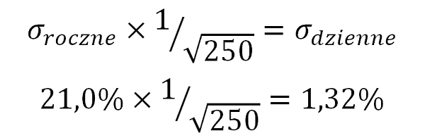 Wzór - zamiana rocznego odchylenia standardowego na dzienne