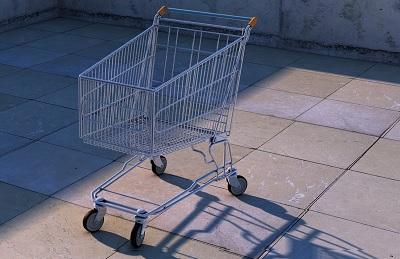 Zdjęcie: zakaz handlu w niedzielę - pusty koszyk z hipermarketu
