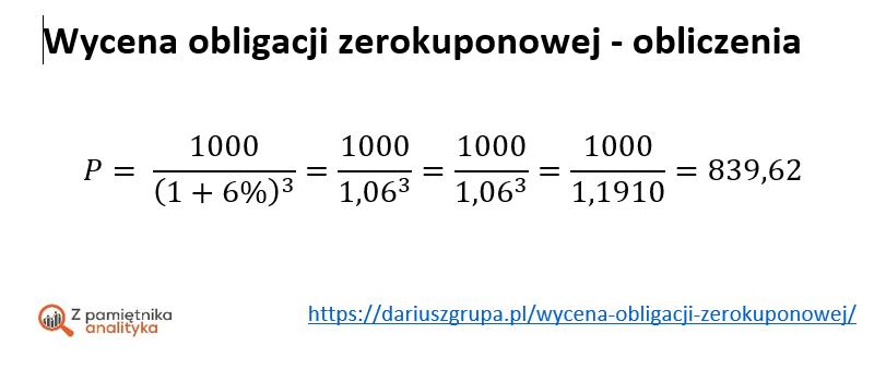 Wycena obligacji zerokuponowej - obliczenia - etap 1