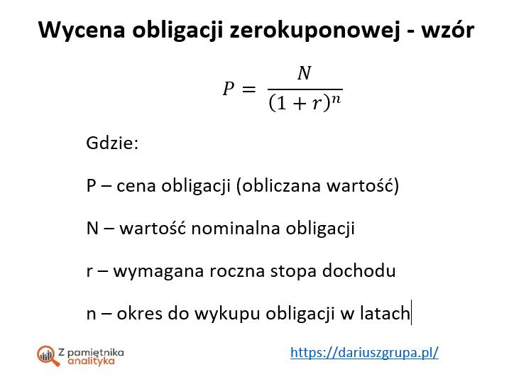 Wycena obligacji zerokuponowej - wzory