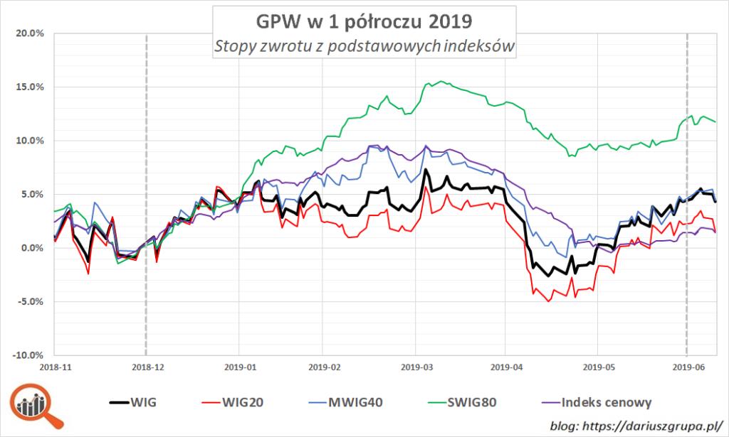 Wykres: wyniki WIG, WIG20, MWIG40, SWIG80 i indeksu cenowego w 1 półroczu 2019