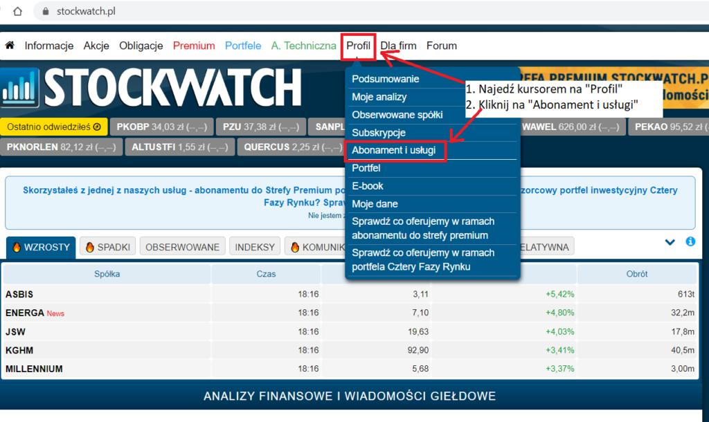 Obrazek: jak kupić abonament do Stockwatch.pl