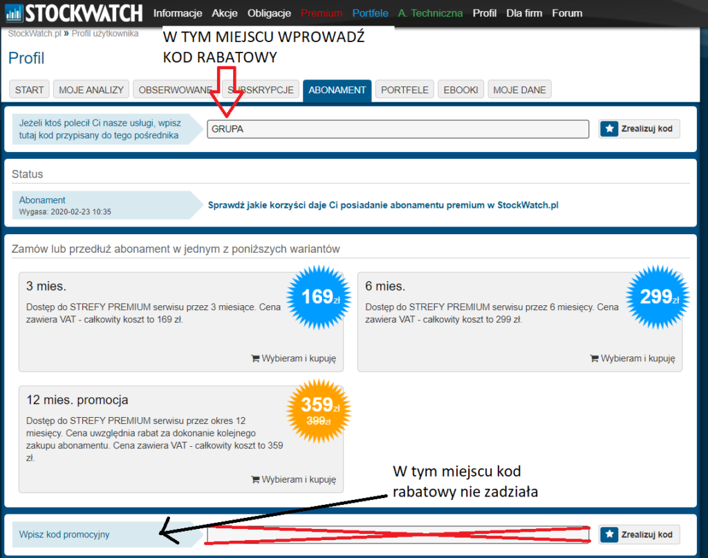 Obrazek: kod promocyjny do Stockwatch.pl