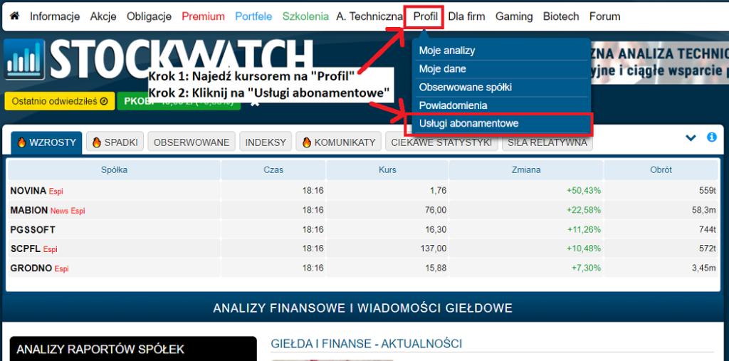 Obrazek: jak kupić abonament na stronie Stockwatch.pl